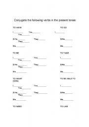 English worksheets: Basic Verb Conjugation Prototype