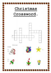 English Worksheet Christmas Crosswords