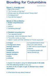 English Worksheet: listening comprehension bowling for columbine