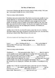 English Worksheets: The Lucia Festival in Sweden - Festival of Light