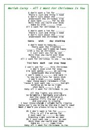 All I Want For Christmas Is You Lyrics To Print.Christmas Songs Worksheets