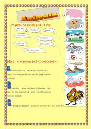 English Worksheets: animals desription