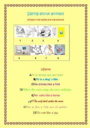 English Worksheets: animals and sayings