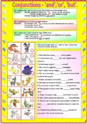 English worksheet: Conjunctions - and, or, but (with B/W and answer key)**editable