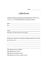 English Worksheets: Cadillac Records Movie Worksheet