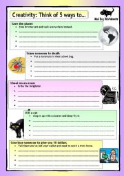English Worksheets: MD Worksheets (1): Creativity - Think of 5 ways to...