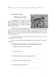 English Worksheets: practising text comprehension and writing a composition