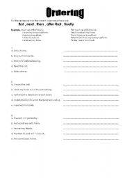 English Worksheets: ordering