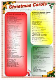 English Worksheet: Christmas Carols