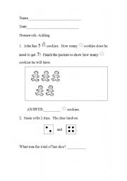 English Worksheets: Simple Addition Math Worksheet