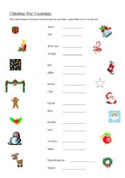 Christmas Tree Decorations Names.English Worksheets Christmas Tree Decorations Vocabulary