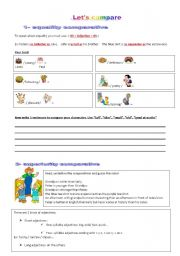 English Worksheet: equality and superiority comparative