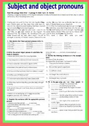 English teaching worksheets: Subject and object pronouns