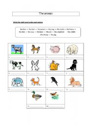 English Worksheets: The animals (vocab sheet)