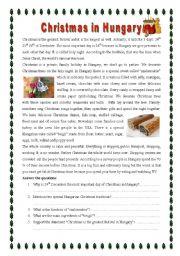 English Worksheet: Christmas in Hungary