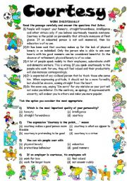 English Worksheets: Reading Comprehension-1 COURTESY (3 Pages - Editable with Key)