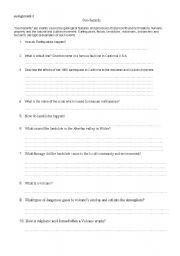 English Worksheets: geohazards