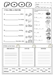 English Worksheet: I like - I don�t like FOOD