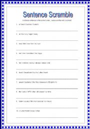 english teaching worksheets word order. Black Bedroom Furniture Sets. Home Design Ideas