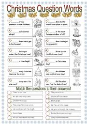 English Worksheets: Question Words - Christmas theme