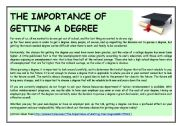English Worksheets: THE IMPORTANCE OF GETTING A DEGREE