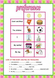 English Worksheets: preference
