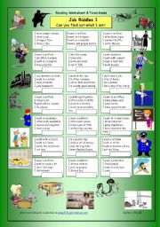 English Worksheets: Job Riddles (1) - Easy