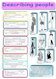 English Worksheet: Describing people and what they�re wearing - two versions, fully editable