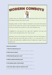 English Worksheet: MODERN COWBOYS