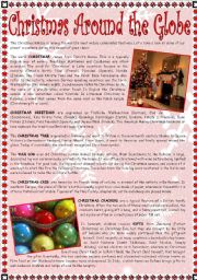 English Worksheets: Christmas Around the Globe - reading comprehension