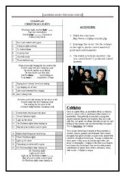 English Worksheet: COLDPLAY: CHISTMAS LIGHTS