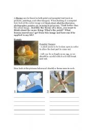 English Worksheets: Theme in Pictures Worksheet