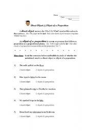 English worksheet: Direct Object or Object of Preposition