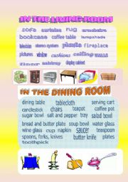 English Worksheet: IN THE LIVING ROOM, IN THE DINING ROOM