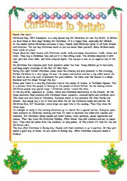 English Worksheet: Christmas in Britain - reading comprehension