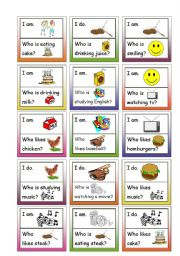 English Worksheets: LOOP GAME! Fun speaking activity, 24 cards, for Beginners, B4 paper, practice reading and listening to questions and answers