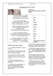 English Worksheets: YOUR SONG: ELTON JOHN