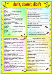 English Worksheets: DON�T, DOESN�T, DIDN�T - WITH B/W VERSION AND ANSWER KEY
