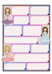 English Worksheets: Princess/ Fairy Template