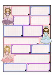 English worksheet: Princess/ Fairy Template