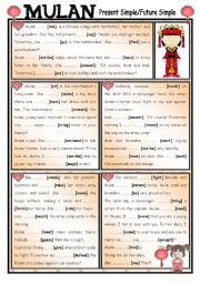 English Worksheet: Fairy Tales/ Stories (22) Mulan - Present and Future Simple