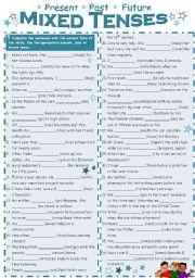 English Worksheet: Mixed Tenses (present, past, future)