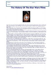 English Worksheet: READING,GRAMMAR & WRITING TEST: THE HISTORY OF STAR WARS MOVIES + KEY FOR THE TEACHER