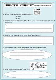 Literature Worksheet - ESL worksheet by gingertania
