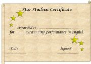 English worksheet: Star Student Certificate template (editable)