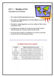 English Worksheets: Continental Extremes