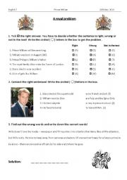 English Worksheets: A Royal Problem/ Prince William