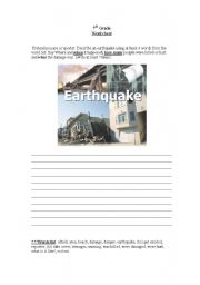 English Worksheet: earthquake , nature disasters
