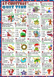 English Worksheets: AT CHRISTMAS - QUIZ TIME (B&W VERSION+KEY INCLUDED)