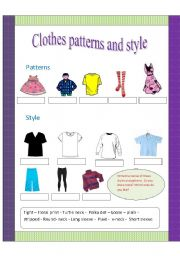 English Worksheets Patterns And Styles Of Clothes